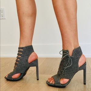 Senso lace up ankle wrap leather grey heels